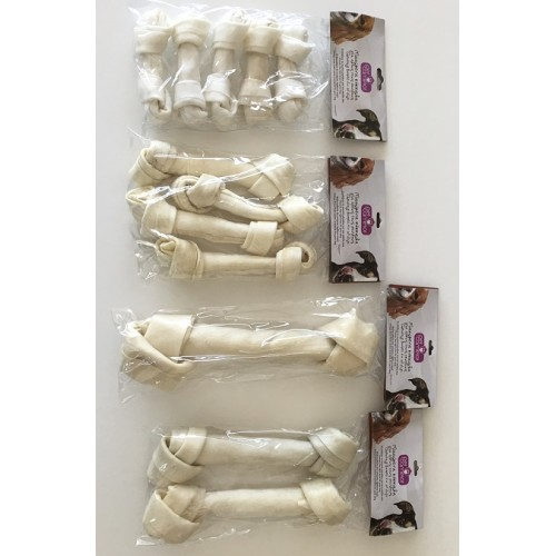 WHITE RAWHIDE KNOTTED BONE 10-10,5''
