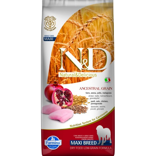 N&D DOG LOW GRAIN CHICKEN & POMEGRANATE ADULT MAXI 12kg
