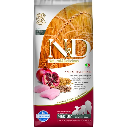 N&D DOG LOW GRAIN CHICKEN & POMEGRANATE PUPPY MEDIUM & MAXI 12kg