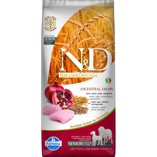 N&D DOG LOW GRAIN CHICKEN & POMEGRANATE SENIOR MEDIUM & MAXI 12kg