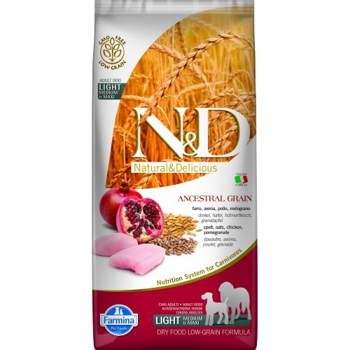 N&D DOG LOW GRAIN CHICKEN & POMEGRANATE ADULT LIGHT MEDIUM & MAXI 12kg