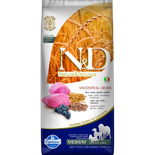 N&D DOG LOW GRAIN LAMB & BLUEBERRY ADULT MEDIUM & MAXI 12kg