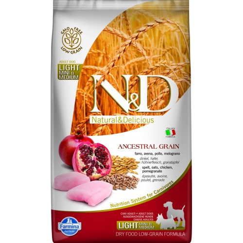 N&D DOG LOW GRAIN CHICKEN & POMEGRANATE ADULT LIGHT MINI & MEDIUM 2,5kg