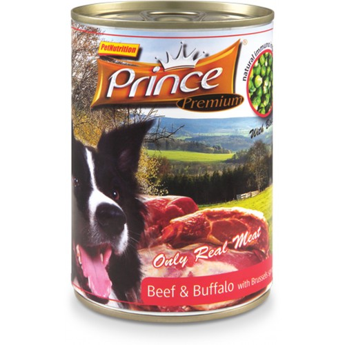 PRINCE DOG BEEF & BUFFALO & BRUSSELS & SPINACH 400g