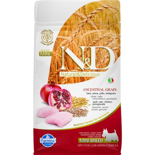N&D DOG LOW GRAIN CHICKEN & POMEGRANATE ADULT MINI 800g