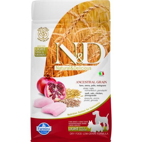 N&D DOG LOW GRAIN CHICKEN & POMEGRANATE ADULT LIGHT MINI & MEDIUM 800g