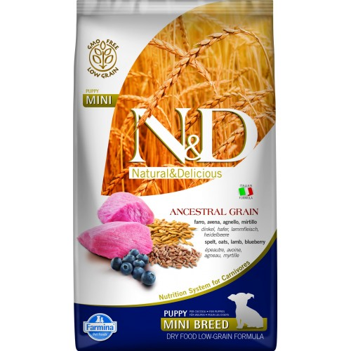N&D DOG LOW GRAIN LAMB & BLUEBERRY PUPPY MINI 800g