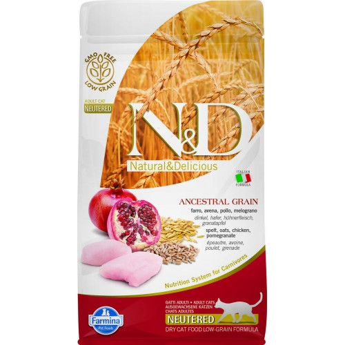 N&D CAT LOW GRAIN CHICKEN & POMEGRANATE ADULT NEUTERED 1,5kg