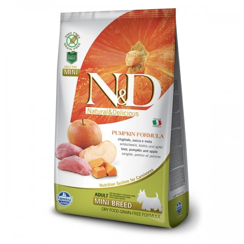N&D DOG GRAIN FREE BOAR & APPLE ADULT MINI 2.5kg
