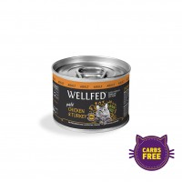 WELLFED CAT ADULT CHICKEN & TURKEY 200 g KON